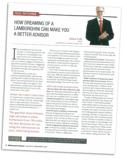Retirement Advisor Magazine Article by Adam Cufr