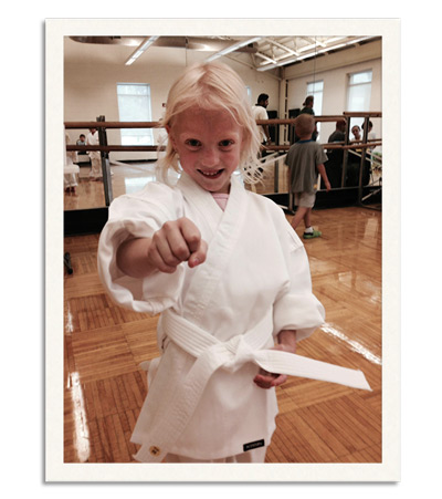 Myth: Size matters. Ava may be one of the tiniest karate students ever, but she's ferocious!